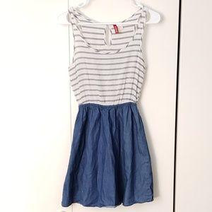 H&M striped denim fit & flare pullover dress